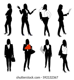 Collection of business woman vector silhouettes