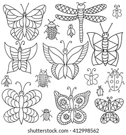 Collection of butterflies and beetles. Vector drawing in black and white. Page in color.