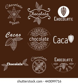 Collection of cacao and chocolate logos made in vector. Labels, Badges and design concepts and templates in trendy linear style