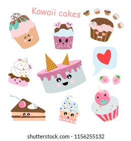 Collection of Cakes kawaii. Different options for cakes, cookies, muffin. Transparent background. Vector