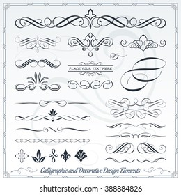 Collection of Calligraphic Decorative Design Elements