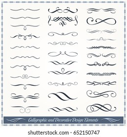 Collection of calligraphic and decorative design patterns, embellishments in vector format.