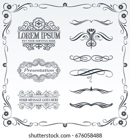Collection of calligraphic and decorative design patterns and frames.