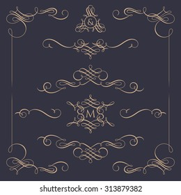 Collection of calligraphic elements. Decorative monograms and  borders. Template signage, logos, labels, stickers, cards, menu. Graphic design page. Classic design elements for wedding invitations.