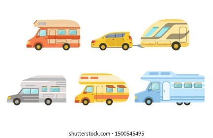 Collection of Camper Trailers Set, Trailering, Camping, Outdoor Adventures Vector Illustration