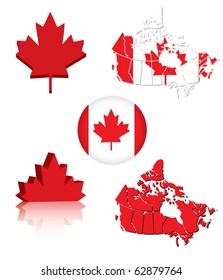 Collection of Canadian flag symbols (eps10 vector)