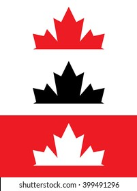 A collection of Canadian rising maple leaf logos in red, black and reverse