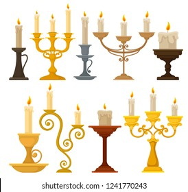 Collection of candles in candlesticks, vintage candle holders and candelabrums vector Illustration on a white background