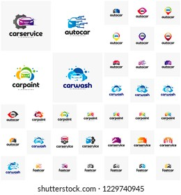 Collection of Car logo design template. Point, Repair, tech, wash, paint, fast