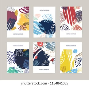 Collection of card, postcard or flyer templates with abstract bright colored paint blotches, stains, drops, scribble, brush strokes on white background. Artistic vector illustration in modern style