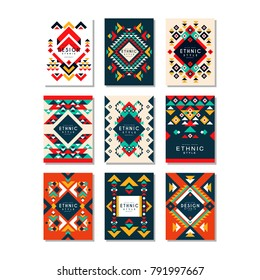 Collection of card templates with ethnic patterns. Abstract design with geometric shapes. Colorful flat vector elements for brochure, cover, flyer or poster