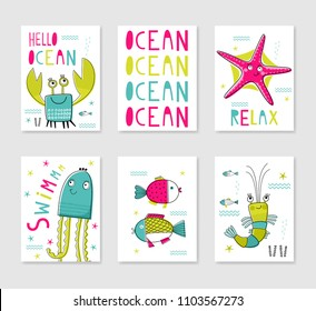 Collection of card templates.  Marine design. Typography poster, card, label, banner design set. Vector illustration