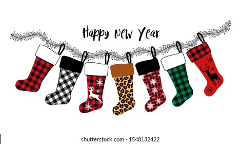 Collection or card of various Christmas  stockings. Buffalo plaid, leopard and other design elements. Festive decor. Vector illustration.