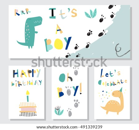 Collection Cards Baby Boy Dinosaur Greeting Card Stock Vector