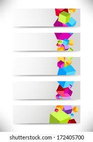 Collection of cards with colorful cubes. Vector illustration