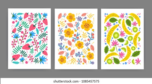 Collection of cards, posters or vertical background templates decorated with summer blooming flowers, leaves, exotic tropical fruits, berries. Bright colored flat cartoon vector illustration