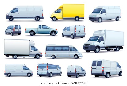 Collection of cars. Set of black and white cars. Collection of various passenger cars and delivery trucks.