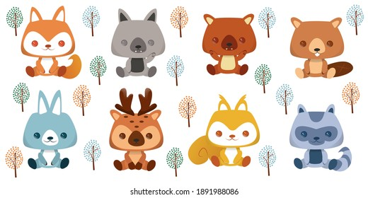 Collection of cartoon animals isolated on white background. Tropical and forest characters emoji stickers and avatars set. Heads with funny expressions. Vector illustration