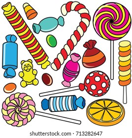 Collection of Cartoon Candy. Kids Style Contour Illustration