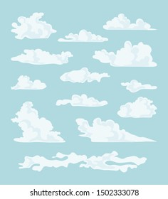 Collection of cartoon clouds of different shapes. Vector illustration