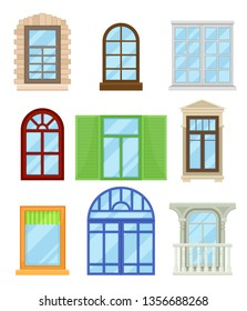 Collection of cartoon colored windows on white background.