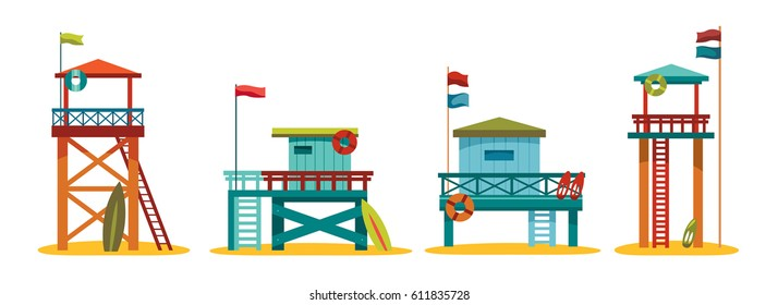 Collection of cartoon colorful lifeguard stations on a white background. Vector summer illustration.