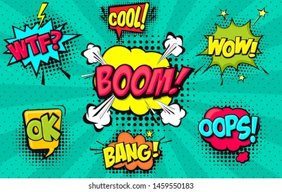Collection of Cartoon, Comic Speech Bubbles. Colored Dialog Clouds with Halftone Dot Background in Pop Art Style