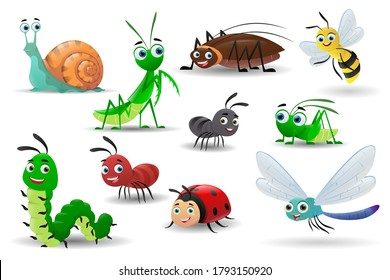 Collection of cartoon cute insects. Bee, worm, snail, butterfly, caterpillar, ladybug, praying mantis, dragonfly, cockroach, ant, grasshopper. Vector illustrations