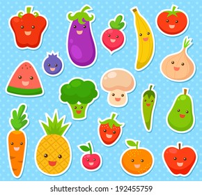 collection of cartoon fruit and vegetables