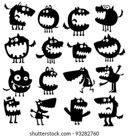 Collection of cartoon funny vector animals silhouettes