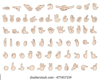 A collection of cartoon hands with different gestures and positions