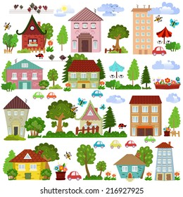 Collection of cartoon houses and trees for your design