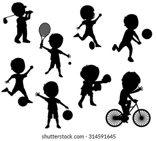 Collection of cartoon kid silhouettes playing different sports isolated