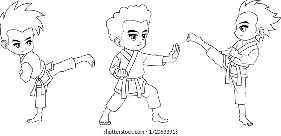 Collection of cartoon kid used for coloring book