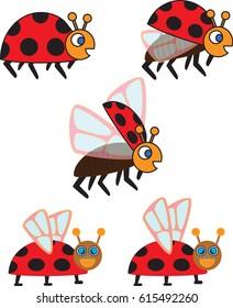 Collection Of Cartoon Ladybugs