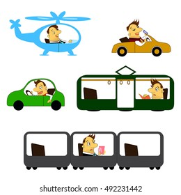 collection of a cartoon man  in transport