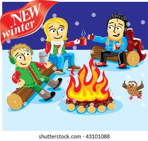Collection cartoon personage. Winter Christmas holiday. Camping.
