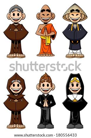 Collection Cartoon Religious Catholic Monks Buddhist Stock Vector