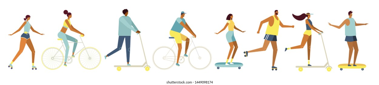 Collection cartoon vector characters. Young men and women ride bicycles, roller skates, skateboard, scooter. Active, sports lifestyle. Flat design, white background isolated