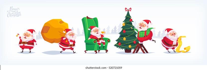 Collection of cartoon vector Santa Claus icons. Christmas illustration.