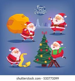 Collection of cartoon vector Santa Claus icons. Christmas illustration