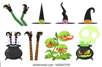 Collection of cartoon witch legs in striped stockings and cauldron, venus flytrap, hats elements for design isolated on a white background