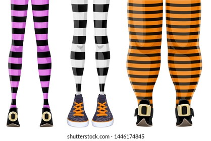 Collection of cartoon witch legs in striped stockings and various shoes isolated on a white background