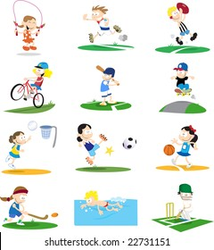 A collection of cartoon-style vector illustrations of kids playing a variety of sports. The vector can be easily edited to remove the small backgrounds.