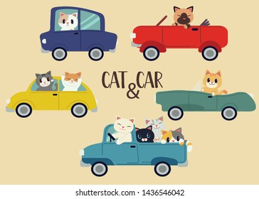 The collection of the cat with the car set. The cat driving a car. They smiling it look so happy. The cute cat in flat vector style.