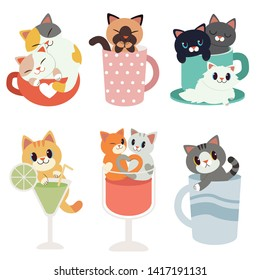 The collection of cat sitting in the pink polka dot cup. couple cat sitting on the transparent wine glass.cat grasp a transparent cocktail glass. character of cute cat  in flat vector style.