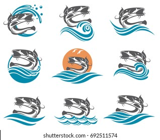collection of catfish images with waves