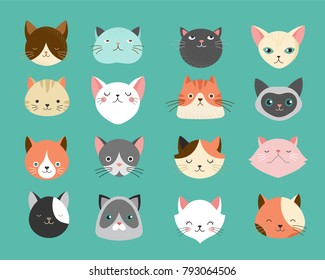 Collection of cats illustrations, icons, avatars