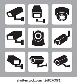 Collection of CCTV and security camera vector icon ,illustration