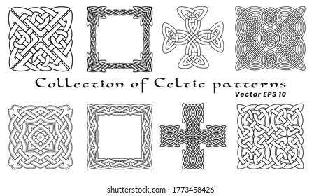 Collection de motifs Celtes sur fond blanc. Isolé. Ensemble de huit motifs. Image en noir et blanc.